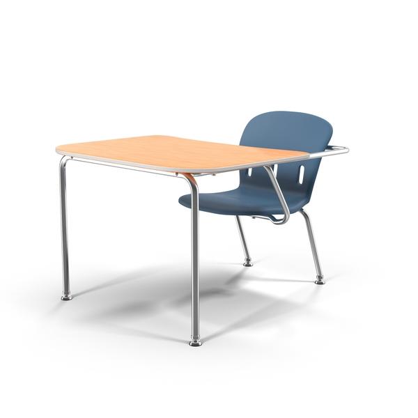 School Desk Blue Chair Object