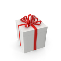 Gift Box With Red Ribbon PNG & PSD Images