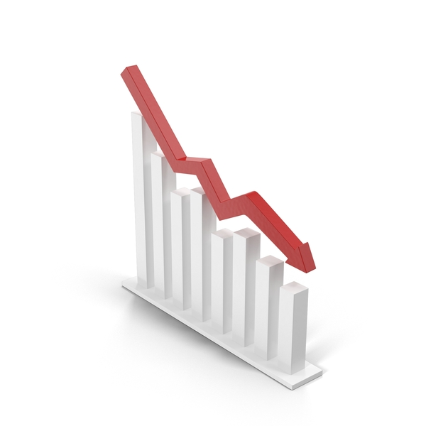 Decreasing Chart with Red Arrow PNG & PSD Images
