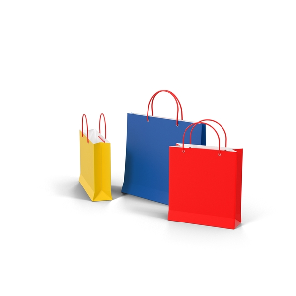 3 Color Shopping Bags Object