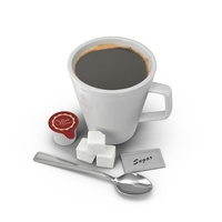 Coffee with Spoon and Sugar PNG & PSD Images