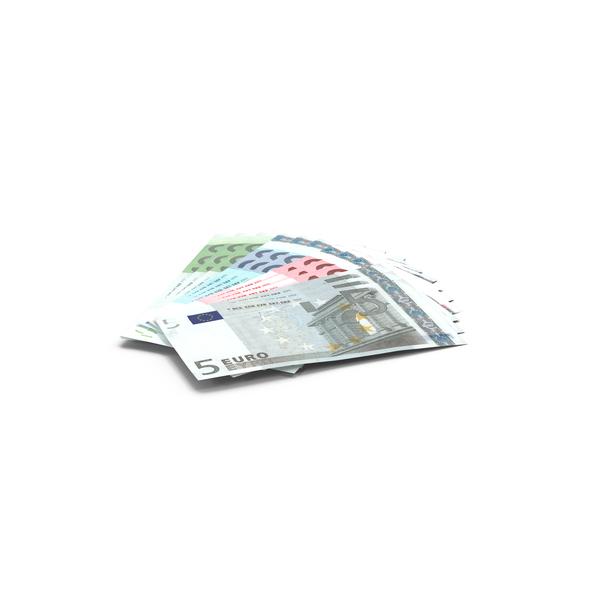 Fanned Out Euro Bills Object