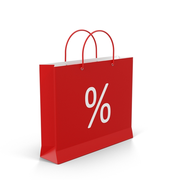 Red Shopping Bag With Percent Label PNG & PSD Images