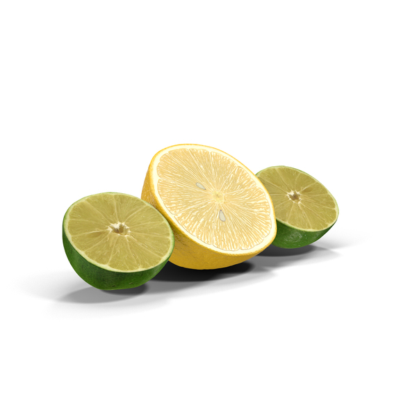 Lemon and Lime Halved PNG & PSD Images