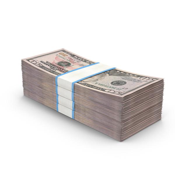 Stack of 50 Dollar Bills Object
