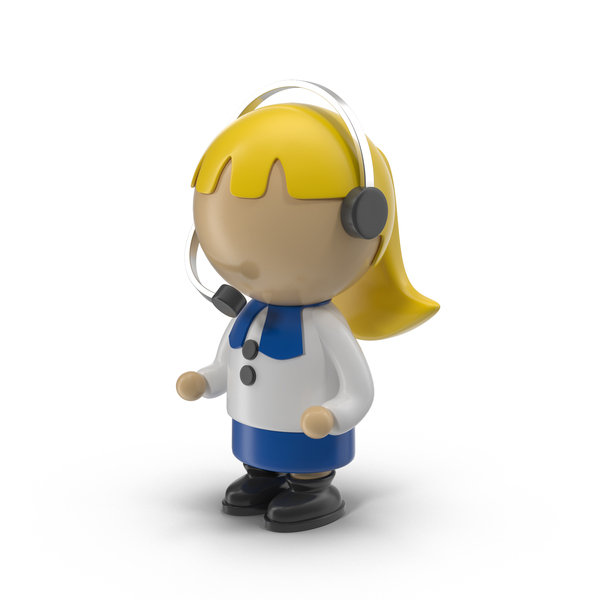 Cartoon Woman Operator Character PNG & PSD Images