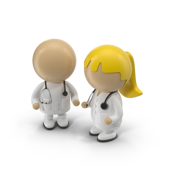 Male and Female Cartoon Doctors PNG & PSD Images