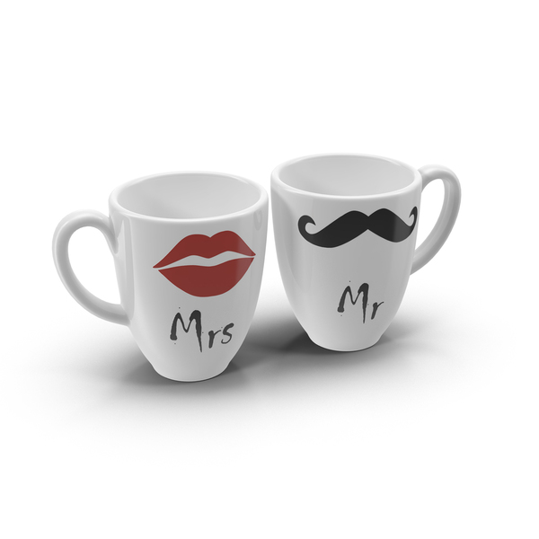 Mr and Mrs Coffee Cups PNG & PSD Images