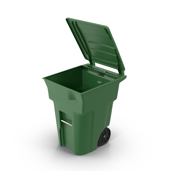 Green Open Trash Bin PNG & PSD Images