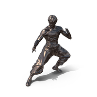 Brass Bruce Lee Statue PNG & PSD Images