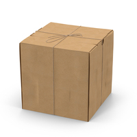 Square Cardboard Box with Twine PNG & PSD Images