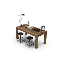 Rustic Desk Set PNG & PSD Images