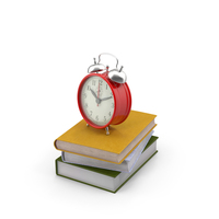 Books and Alarm Clock PNG & PSD Images