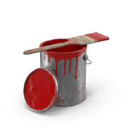 Paint Can and Brush Dirty PNG & PSD Images