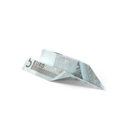 5 Euro Bill Paper Airplane Object