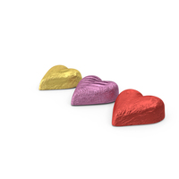 Chocolate Candy Hearts in Foil PNG & PSD Images