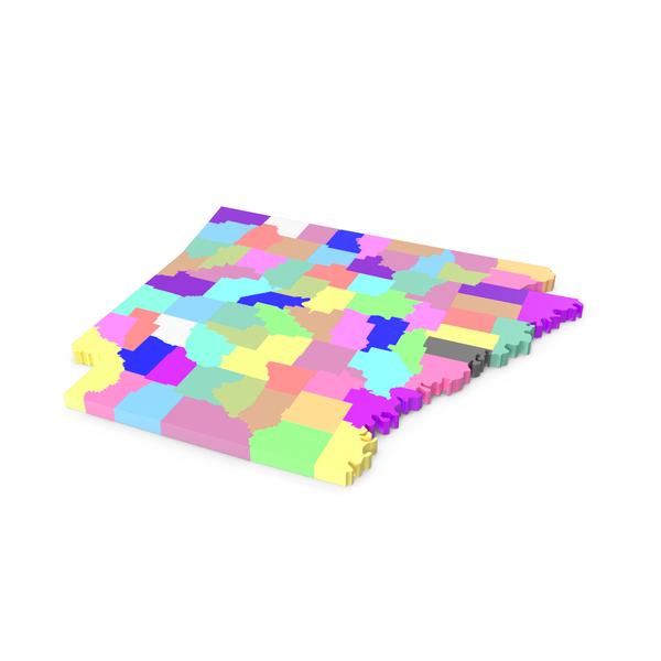 Arkansas Counties Map PNG & PSD Images