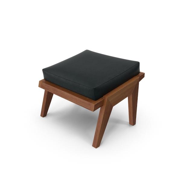 Dark Wood Leather Ottoman Object