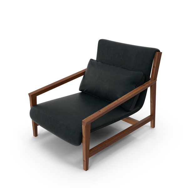 Dark Wood and Leather Arm Chair PNG & PSD Images