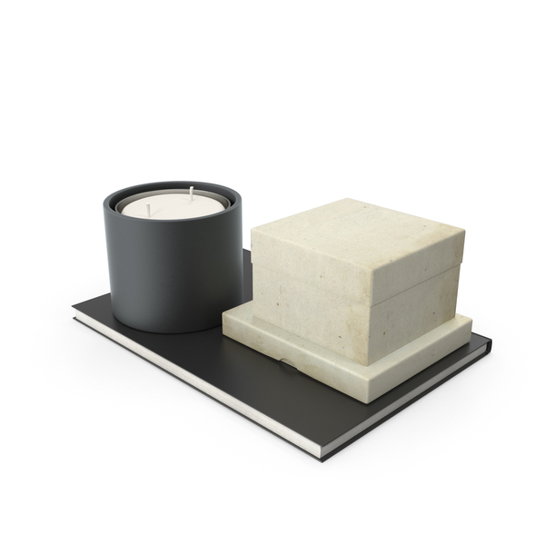 Candle And Small Box On Notebook PNG & PSD Images