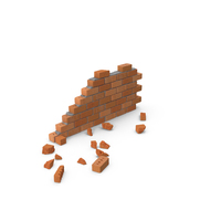 Brick Wall Section with Debris PNG & PSD Images