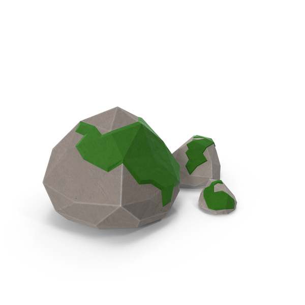 Low Poly Mossy Rocks PNG & PSD Images