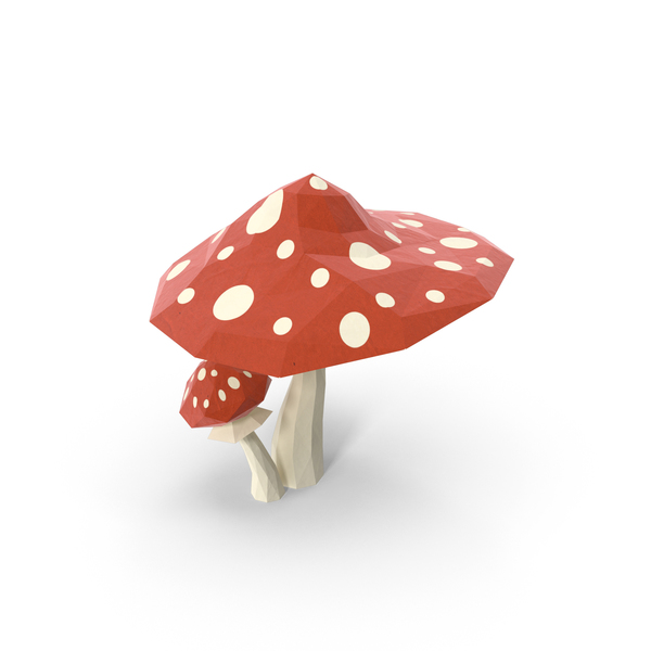 Low Poly Mushrooms Object