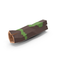 Low Poly Mossy Log PNG & PSD Images
