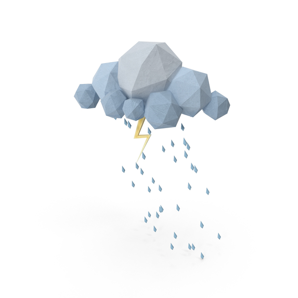 Low Poly Storm Cloud PNG & PSD Images