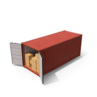Shipping Container with Boxes PNG & PSD Images