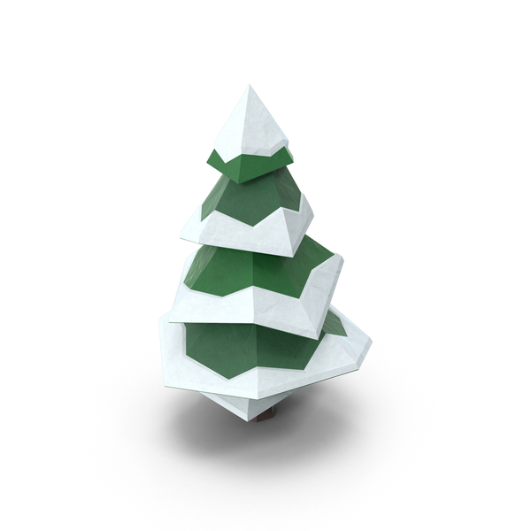 Low Poly Snowy Pine PNG & PSD Images