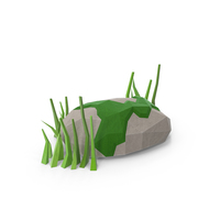 Low Poly Rock with Grass PNG & PSD Images