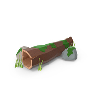 Low Poly Log with Rocks PNG & PSD Images