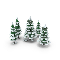 Low Poly Snow Scene PNG & PSD Images