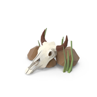Cow Skull and Rocks PNG & PSD Images