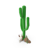 Cactus with Skull and Rocks PNG & PSD Images