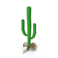 Cactus with Skull and Tumblweeds PNG & PSD Images