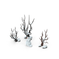 Low Poly Snow Scene Snowman PNG & PSD Images