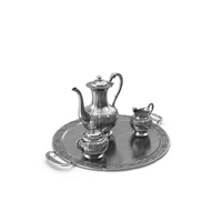 Coffee Set  &  Silver Tray PNG & PSD Images
