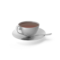 White Tea Cup with Spoon PNG & PSD Images