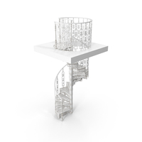 White Victorian Spiral Stair PNG & PSD Images