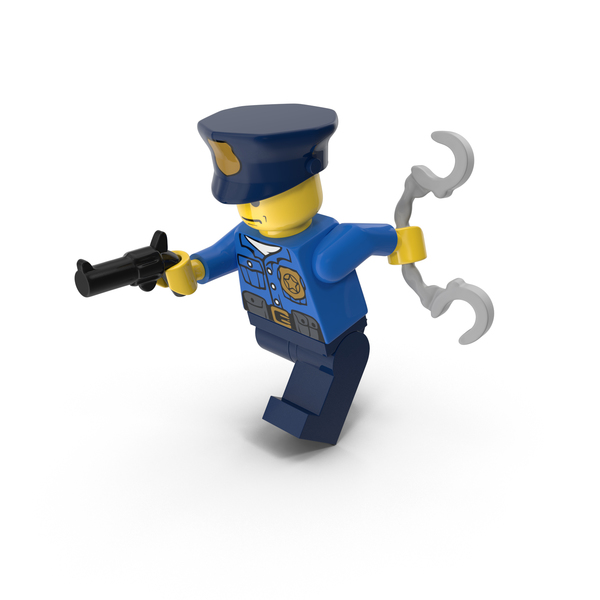 Lego Police Officer Running With Gun and Handcuffs Object