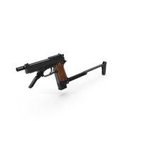 Pistol Beretta 93R with Buttstock PNG & PSD Images