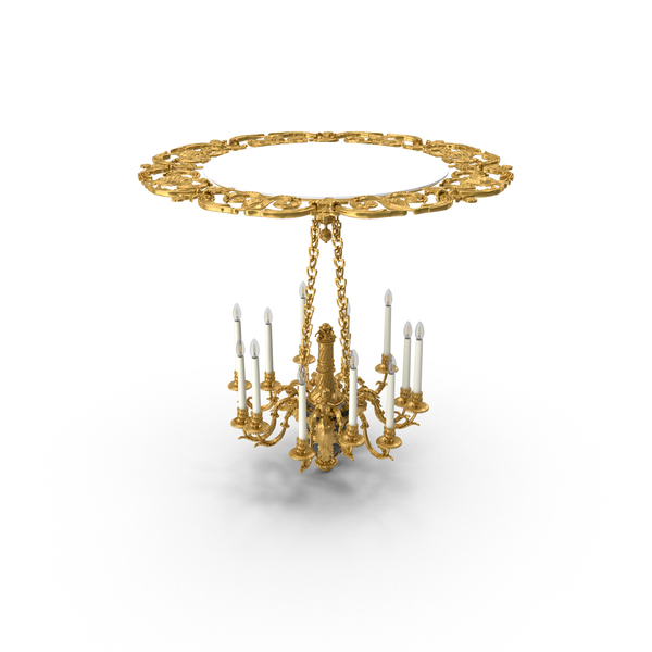 Baroque Chandelier with LED Bulbs PNG & PSD Images
