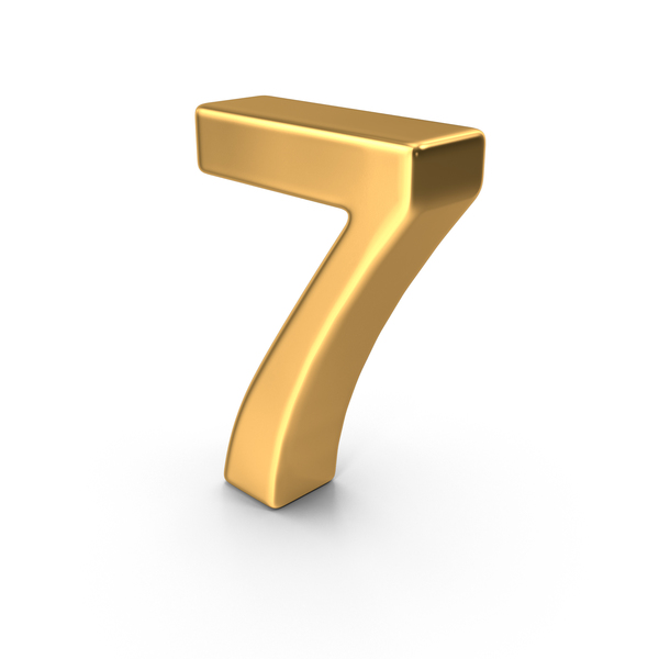 Gold Number 7 PNG & PSD Images