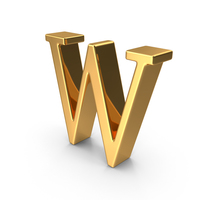 Gold Capital Letter W PNG & PSD Images