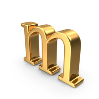 Gold Small letter m PNG & PSD Images