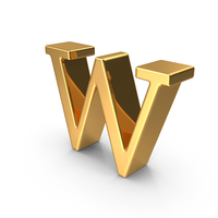 Gold Small Letter W PNG & PSD Images
