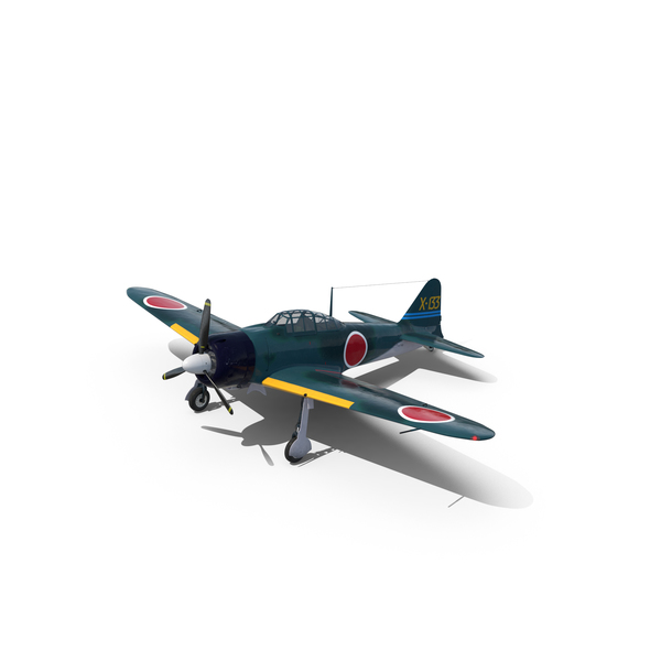 WWII  Japanese Navy Fighter Aircraft A6M Zero PNG & PSD Images