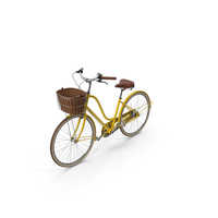 Yellow Bike With Basket PNG & PSD Images